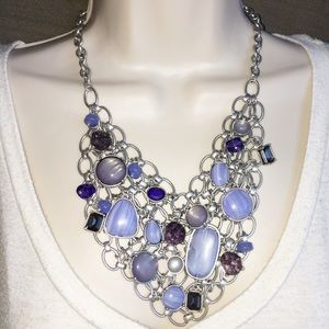 Chico's Beaded Bib Chain Necklace Amethyst Blue